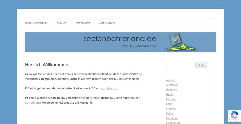 Screenshot der Website seelenbohrerland.de